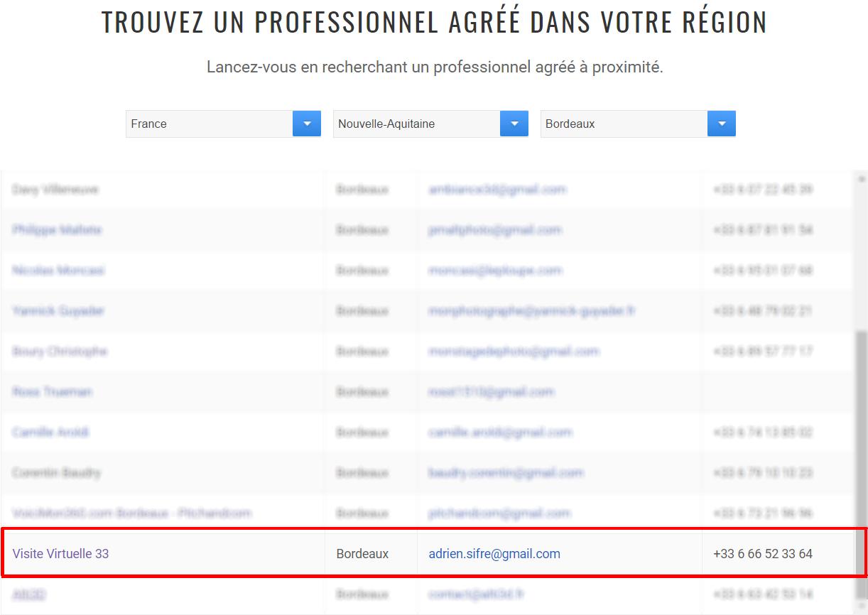 Liste des professionnel agréés Google Street View